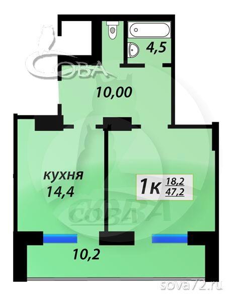 1 комнатная квартира  в Тюменском-4 мкрн., ул. Николая Зелинского, 5, Жилой квартал «на Федорова», г. Тюмень