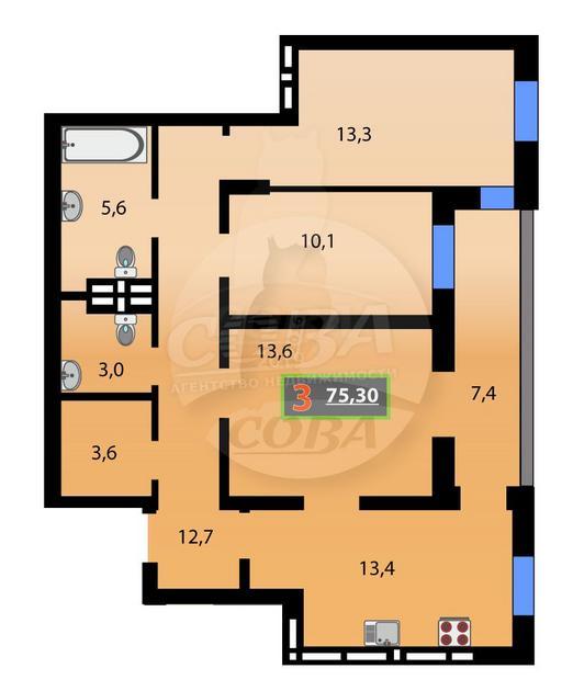3 комнатная квартира  в районе Суходолье, ул. Михаила Сперанского, 39, Жилой комплекс «Видный», г. Тюмень