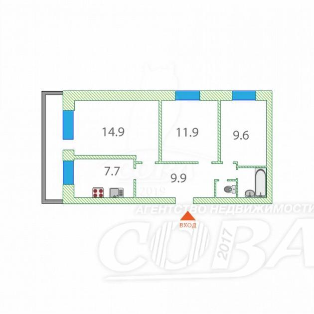 3 комнатная квартира  в районе Центральная часть, ул. Южная, 4, п. Московский