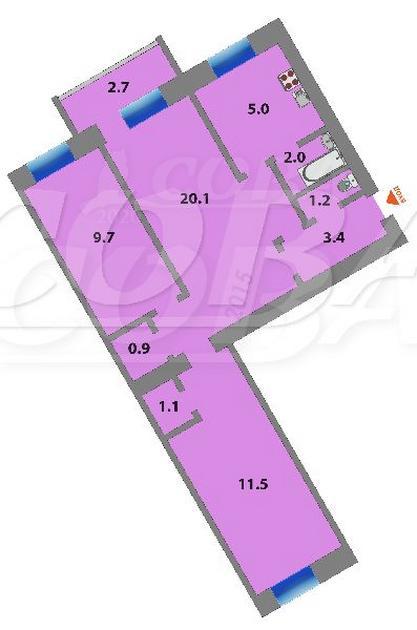3 комнатная квартира  в районе Технопарка, ул. Республики, 146, г. Тюмень