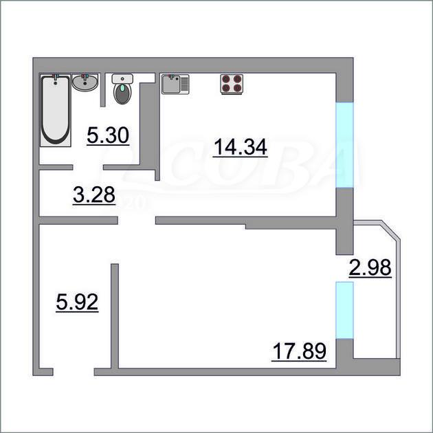 1 комнатная квартира  в районе Ожогина / Патрушева, ул. Федюнинского, 60, ЖК