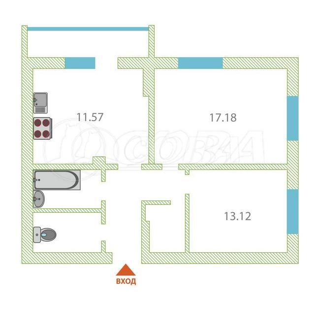 2 комнатная квартира  в районе ул.Елизарова, ул. Харьковская, 27, г. Тюмень
