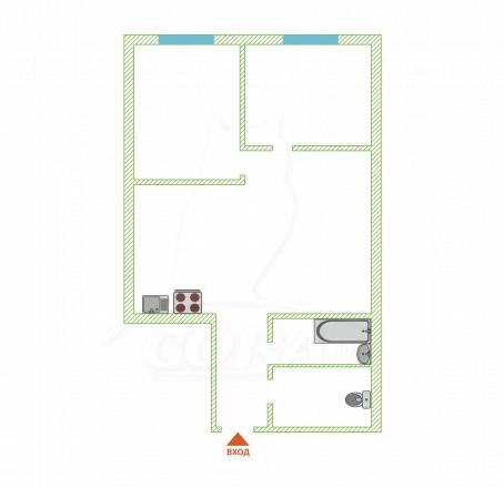 2 комнатная квартира  в районе Больничный Городок, ул. Альпийская, г. Сочи, код 245503 - планировка