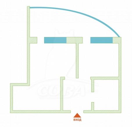 2 комнатная квартира  в районе Бытха, ул. Коммунальная, г. Сочи, ЖК «Империя», код 269963 - планировка