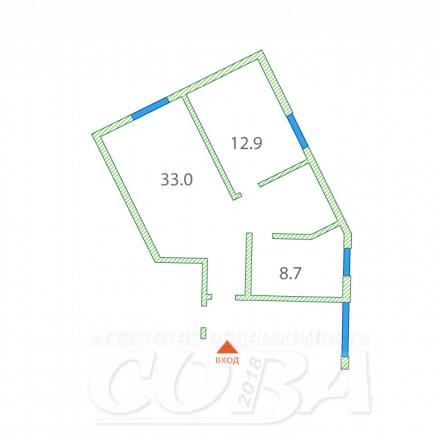 2 комнатная квартира  в районе Раздольное, ул. Земляничная, 411, г. Сочи, код 241905 - планировка