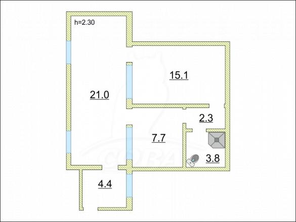 2 комнатная квартира  в районе Весёлое, ул. Петропавловская, г. Сочи, код 261455 - планировка