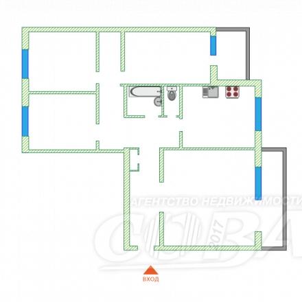 4 комнатная квартира  в районе Нагорный Тобольск, ул. микрорайон Менделеево, г. Тобольск, код 154171 - планировка