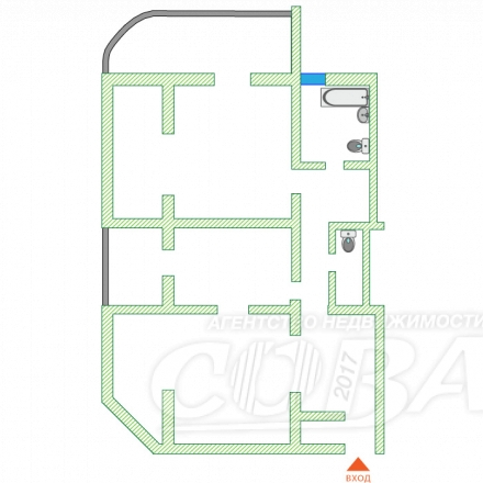 3 комнатная квартира  в районе Фабрициуса, ул. Фабрициуса, г. Сочи, код 233974 - планировка