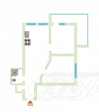 2 комнатная квартира  в районе Завокзальный, ул. Параллельная, г. Сочи, код 245083 - планировка