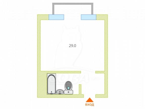 1 комнатная квартира  в районе Весёлое, ул. Урожайная, г. Сочи, код 275623 - планировка