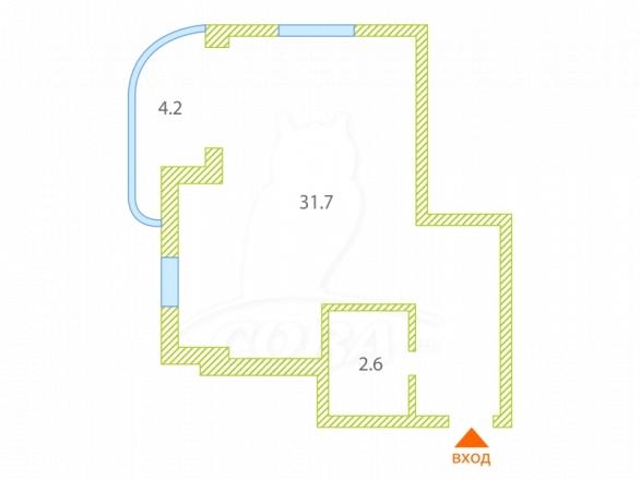1 комнатная квартира  в районе Хоста, ул. Привольный переулок, г. Сочи, код 275422 - планировка