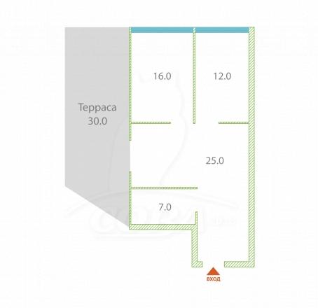 2 комнатная квартира  в районе Фабрициуса, ул. Фабрициуса, г. Сочи, код 253359 - планировка