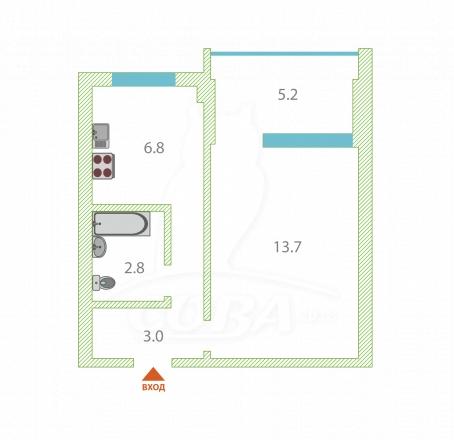 1 комнатная квартира  в районе Макаренко, ул. Макаренко, г. Сочи, код 269432 - планировка