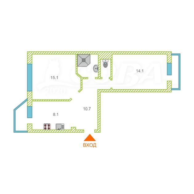 2 комнатная квартира  в районе Центральный, ул. Студенческая, 11, г. Сургут