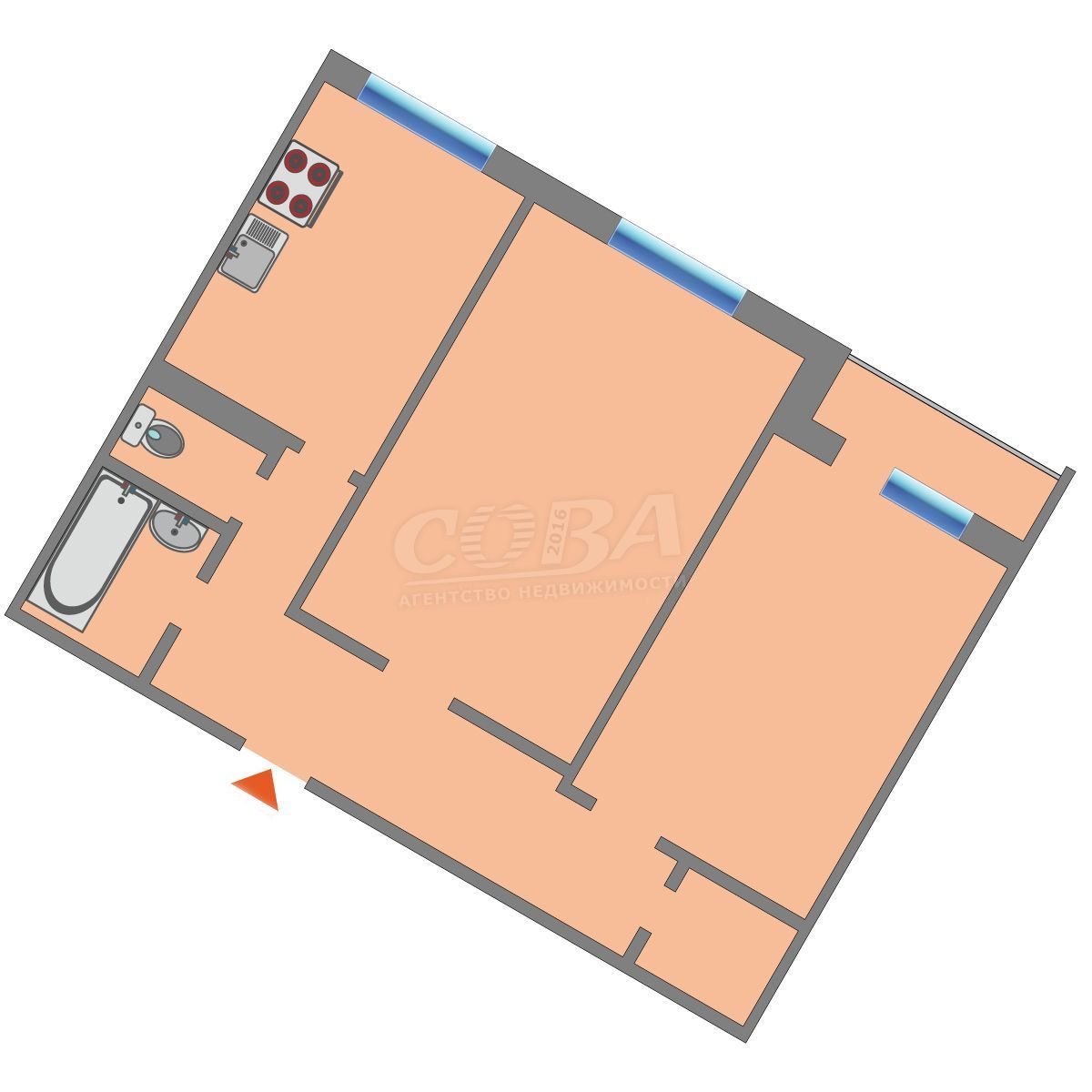 2 комнатная квартира  в районе Лесобаза (Тура), ул. Домостроителей, 6А, г. Тюмень