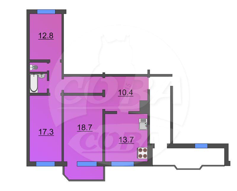 3 комнатная квартира  в районе Выставочного зала, ул. Пржевальского, 35/2, г. Тюмень