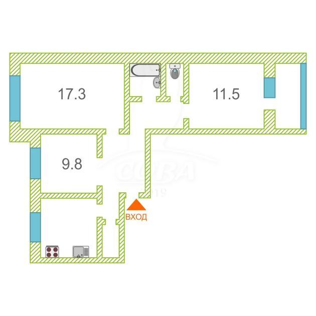 3 комнатная квартира  в районе Войновка, ул. Энергостроителей, 12, г. Тюмень