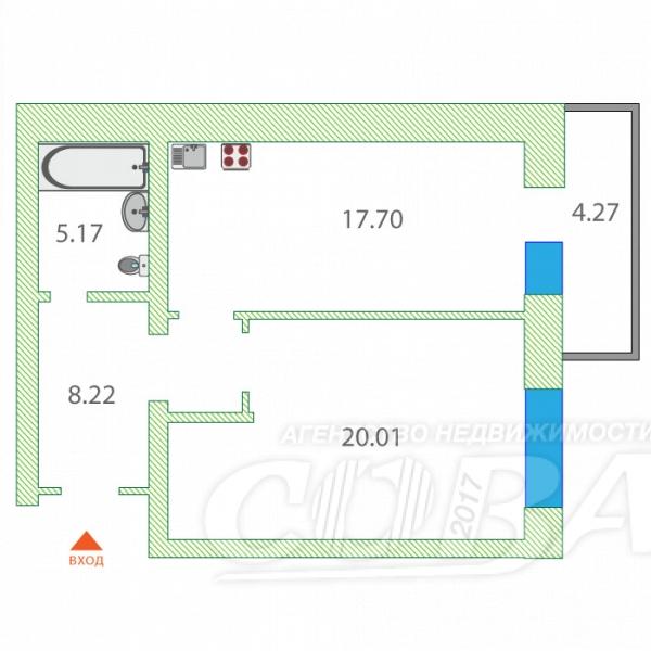 1 комнатная квартира  в Заречном 2 мкрн., ул. Газовиков, 33, ЖК «Фэнси», г. Тюмень