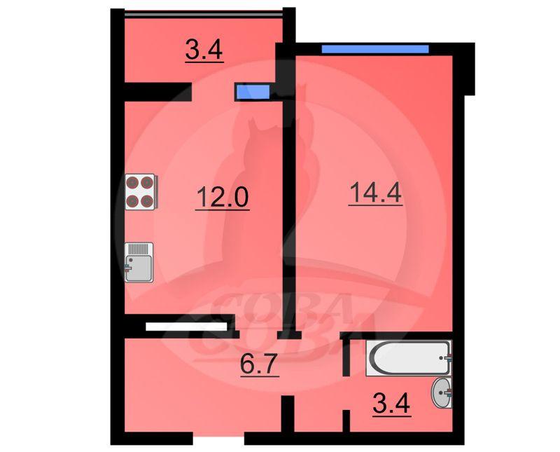 1 комнатная квартира  в Тюменском-4 мкрн., ул. Николая Федорова, 17, ЖК «Семейный-2», г. Тюмень
