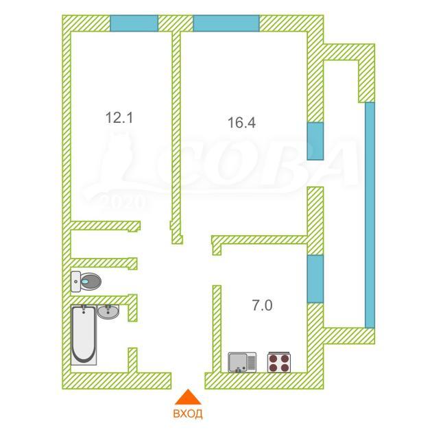 2 комнатная квартира  в 2 микрорайоне, ул. 30 лет победы, 118, г. Тюмень