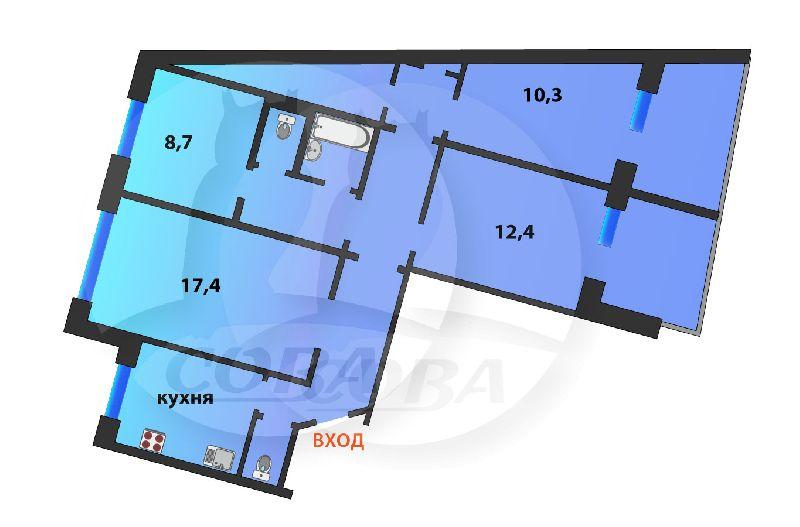 4 комнатная квартира  в Заречном 3 мкрн., ул. Заречный проезд, 31, г. Тюмень