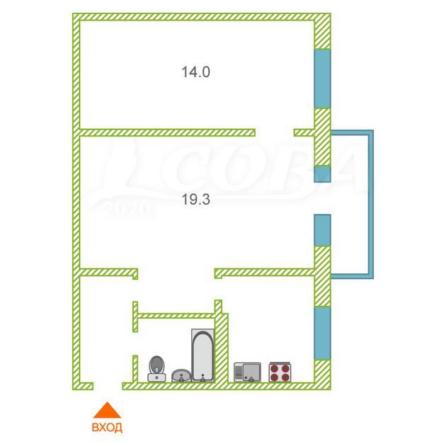 2 комнатная квартира  в районе КПД (Геологоразведчиков), ул. проезд Геологоразведчиков, 52, г. Тюмень