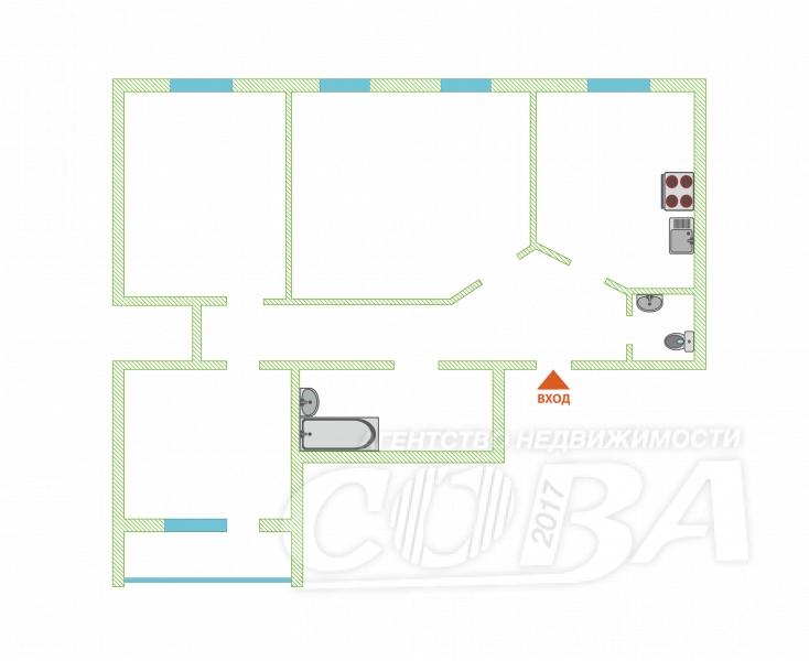 3 комнатная квартира  в районе ул.Малыгина, ул. Малыгина, 52, г. Тюмень