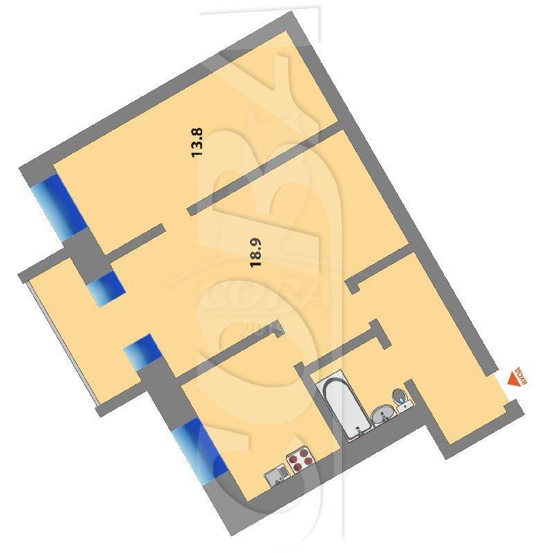 2 комнатная квартира  в районе Технопарка, ул. Котовского, 54, г. Тюмень