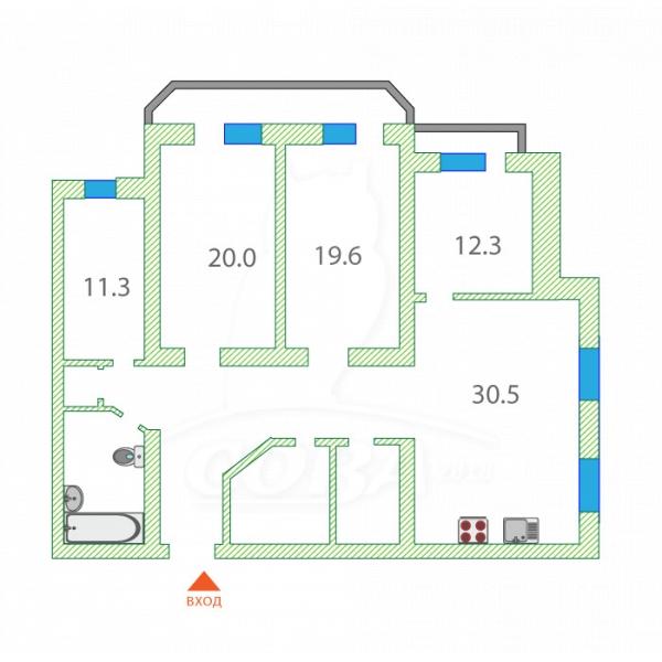 4 комнатная квартира  в районе Дом Обороны, ул. Флотская, 32, г. Тюмень