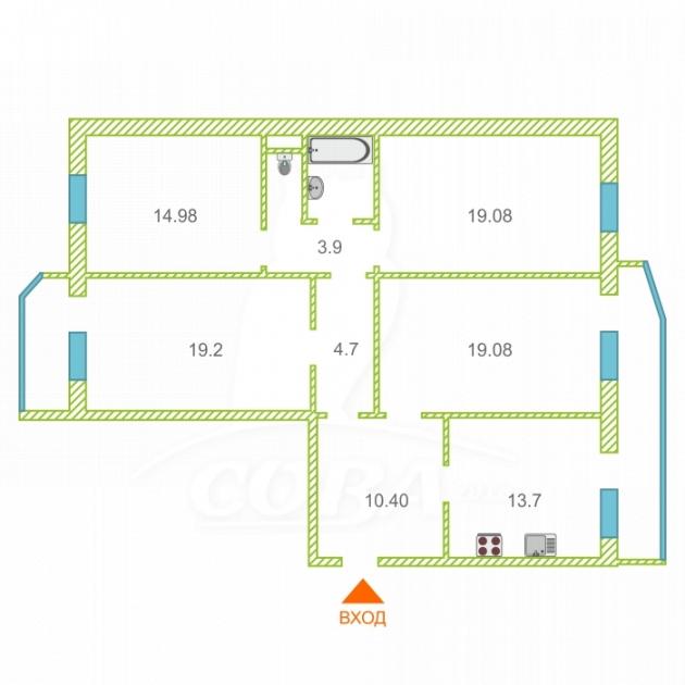 4 комнатная квартира  в Восточном мкрн., ул. Моторостроителей, 2/2, г. Тюмень