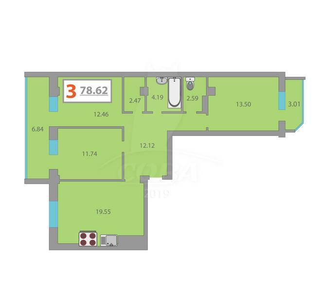 3 комнатная квартира  в районе Тюменская Слобода, ул. Созидателей, 16, ЖК «Комарово», д. Дударева