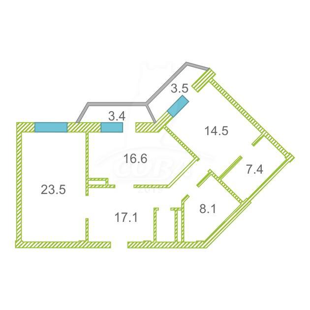 2 комнатная квартира  в районе ул.Малыгина, ул. Малыгина, 2, г. Тюмень