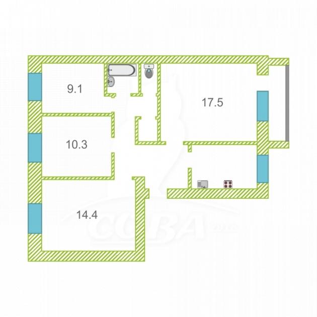 4 комнатная квартира  в районе Центральный, ул. Чернышевского, 1А, г. Ишим