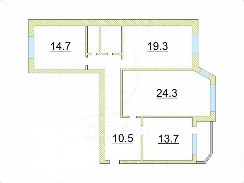 3 комнатная квартира  на КПД в районе 50 лет Октября, ул. 50 лет Октября, г. Тюмень
