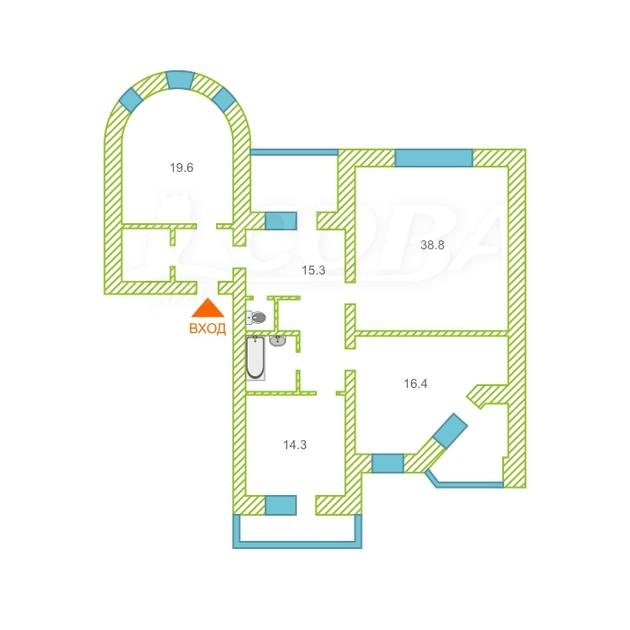 3 комнатная квартира  в районе Дома печати, ул. Свердлова, 35, г. Тюмень