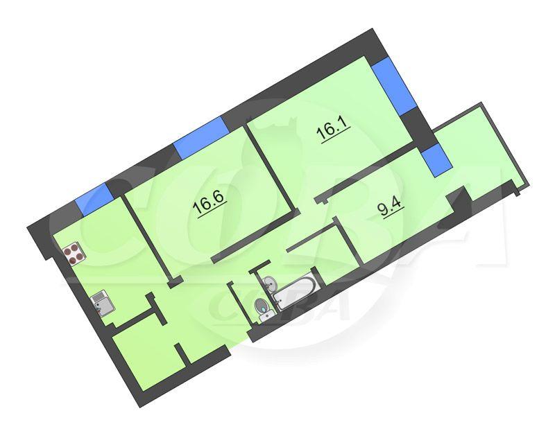 3 комнатная квартира  в Восточном мкрн., ул. 30 лет победы, 144, г. Тюмень
