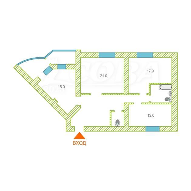 3 комнатная квартира  в районе Центральный, ул. проспект Ленина, 26, г. Сургут