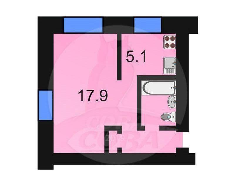 1 комнатная квартира  в районе Выставочного зала, ул. Одесская, 43, г. Тюмень