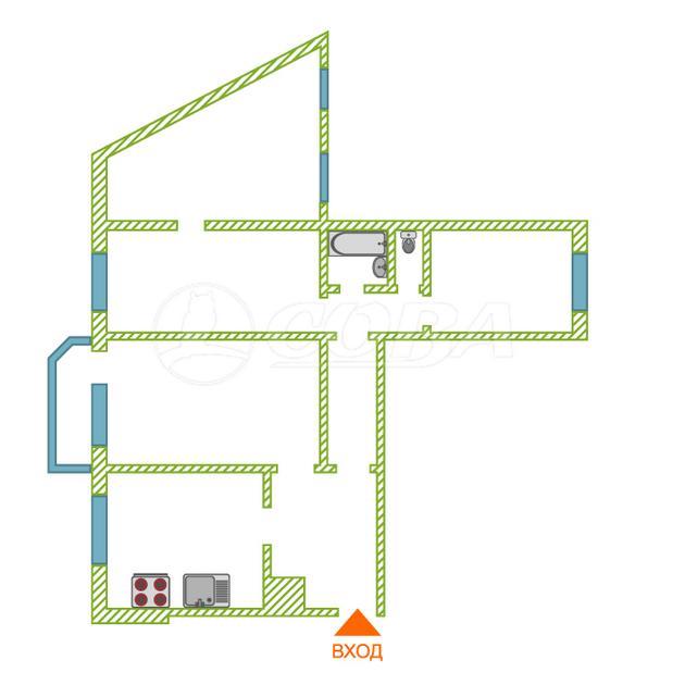 3 комнатная квартира  в районе Московского тр., ул. Московский тракт, 163, г. Тюмень