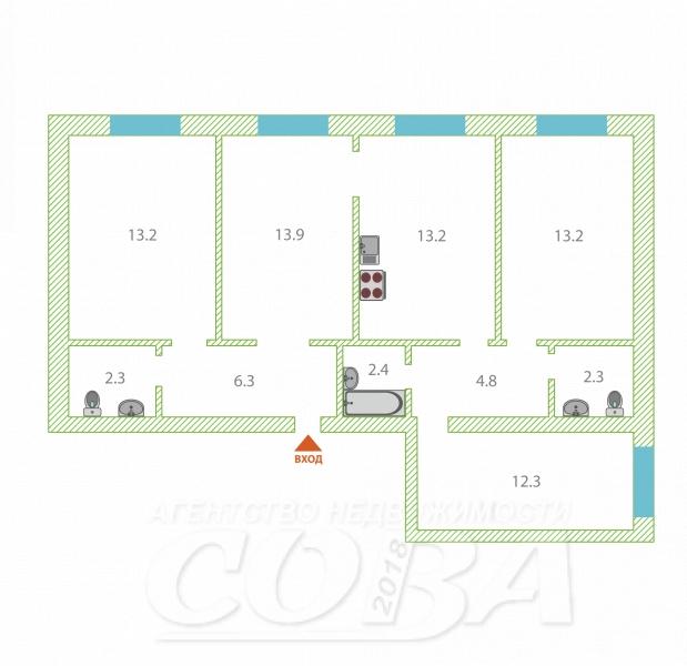 4 комнатная квартира  в районе Маяк, ул. 9 Января, 4, г. Тюмень