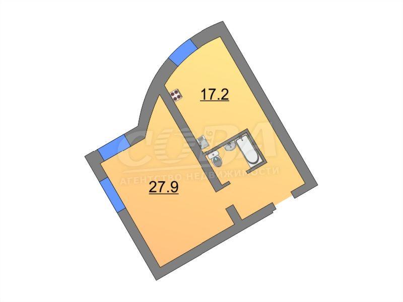 1 комнатная квартира  в историческом центре, ул. Челюскинцев, 28, г. Тюмень