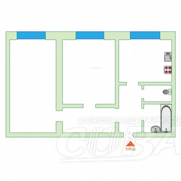 2 комнатная квартира  в районе Центральная часть, ул. Юбилейная, 4А, п. Богандинский