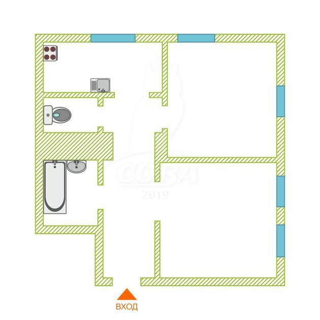 2 комнатная квартира  в центре Тюмени, ул. Ленина, 69А, г. Тюмень
