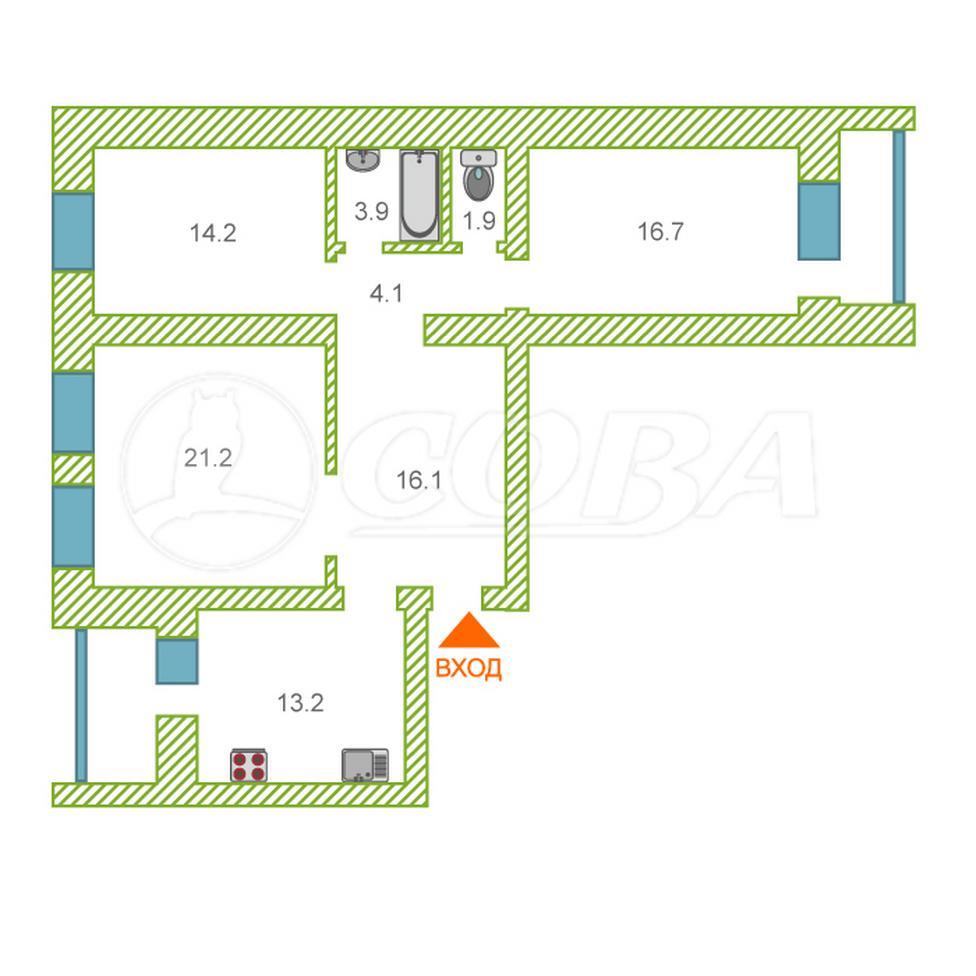 3 комнатная квартира  в районе Дома печати, ул. 50 лет Октября, 1А, г. Тюмень