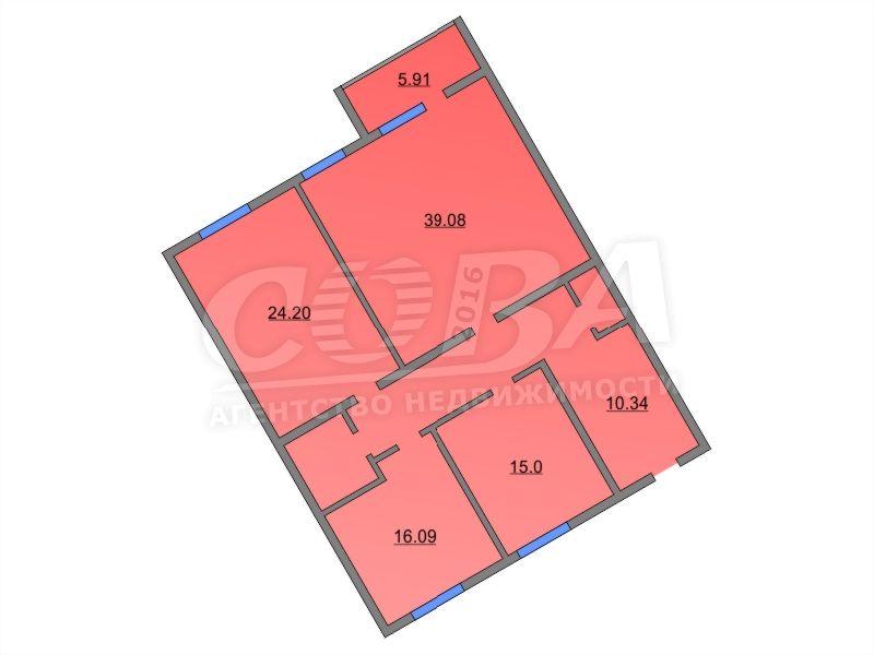 3 комнатная квартира  в районе Московский дворик, ул. Академический проезд, 7, ЖК «Московский дворик», д. Дударева