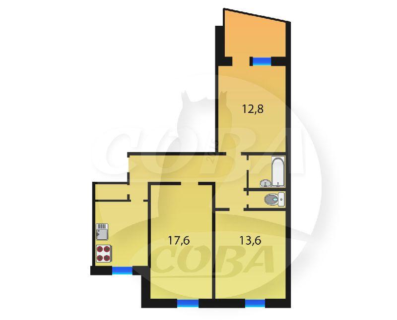 3 комнатная квартира  в 5 микрорайоне, ул. Широтная, 35, г. Тюмень