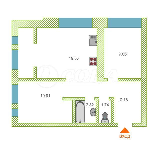 2 комнатная квартира  в районе Мыс, ул. Тимофея Чаркова, 83, ЖК «Звездный», г. Тюмень