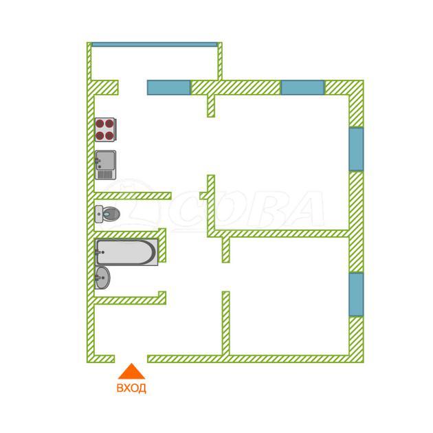 2 комнатная квартира  в районе Мыс, ул. Беляева, 35/1, ЖК «Звездный», г. Тюмень