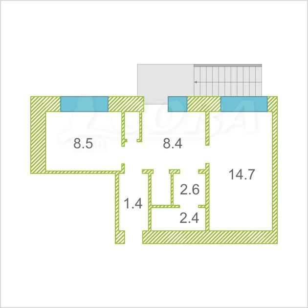 2 комнатная квартира  в 2 микрорайоне, ул. Олимпийская, 15, г. Тюмень