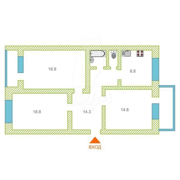 3 комнатная квартира  в районе ЖД Вокзала, ул. Первомайская, 25, г. Тюмень